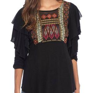 Free People La Cienega Black Embroidery Blouse Top